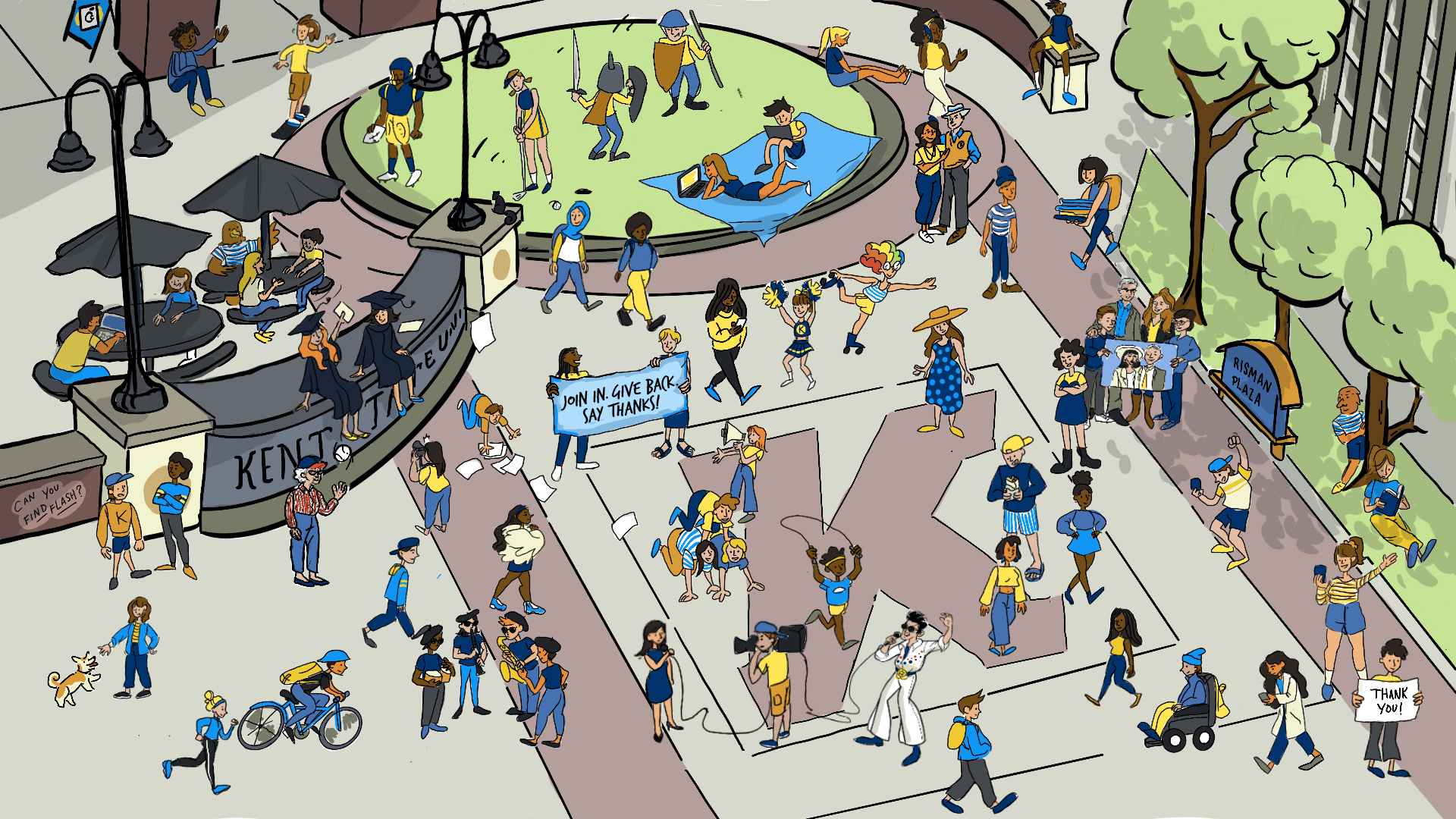 """A large Where's Waldo-style image and illustrated drawing overhead view of Kent State's Risman Plaza… """"Flash"""" is hiding behind the Kent State University sign at a picnic table.  President Todd Diacon and Moema Furtado are located by the grassy circular landscaped area.  The Risman Family is located to the right of the scene, located near the Risman Plaza sign and the Kent State """"K"""" on the sidewalk.  Margaret """"Peg"""" Clark Morgan is located in front of the Kent State University sign, and is wearing a baseball cap and tossing a baseball up in the air.  The grateful KSU student is located in the bottom right corner, holding a """"Thank you"""" sign. The virtual volunteer is holding a cell phone and waving and standing behind the grateful KSU student.  The KSU graduates/alumni are sitting on the Kent State University sign in their graduation regalia, smiling."""